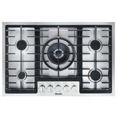 77 cm wide, 5 burners including dual wok burner, solid metal knobs, stainless steel, ComfortClean dishwasher safe trivets