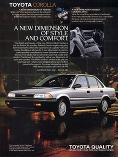 1988 Toyota Corolla Advertisement #print #ad #advertisement #toyota #corolla #sedan #cars #bennett #pennsylvania