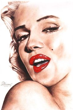 Marilyn Monroe (glamour) 11 x 17 print of hand drawn original. by essenceofus.  || This image first pinned to Marilyn Monroe Art board, here: http://pinterest.com/fairbanksgrafix/marilyn-monroe-art/ ||