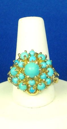 Vintage 14kt Gold and Genuine Turquoise Ring