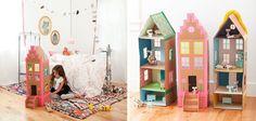 Manualidades >> Casitas de muñecas hechas con envases y cajas de cartón
