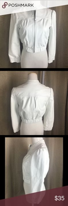 "🆕Listing. Bebe White Leather Jacket.  Sz XS Bebe white leather jacket.  So cute!  Sz XS. Measure 14"" armpit to armpit. Waist 14"". Length17"". In good condition.  How cute is this! bebe Jackets & Coats"
