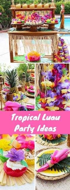 Tropical Luau Party Ideas - Planning a Luau? Decorating a Tropical Luau has never been easier! Easy tutorials and cupcake recipe included by Michelles Party Plan-It included! Aloha Party, Luau Theme Party, Hawaiian Luau Party, Hawaiian Birthday, Luau Birthday, Tiki Party, Festa Party, Birthday Parties, Hawaiian Theme