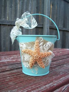 Beach Flower Girl Basket for your Destination Wedding, Starfish Flower Girl Basket, Aqua Flower Girl, Beach Wedding