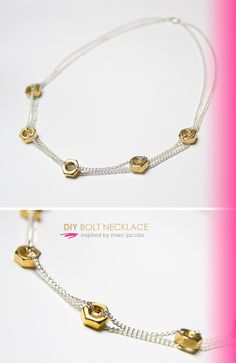 DIY Tutorial Designers Inspired / DIY Bolt Necklace: Inspired by Marc Jacobs - Bead&Cord Clean Gold Jewelry, Black Gold Jewelry, Keep Jewelry, Jewelry Making, Diy Jewelry Necklace, Jewelry Crafts, Beaded Jewelry, Jewelery, Necklaces