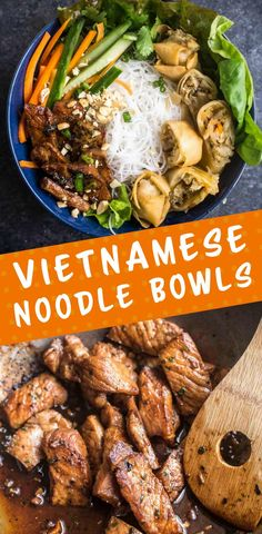 Vietnamese Noodle Bowls (Bun Thit Nuong Cha Gio) are deliciously addictive with layers of crisp fresh vegetables, noodles, crunchy spring rolls, and marinated lemongrass pork. via @smith_jessica_h