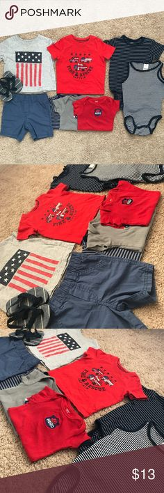 Bundle of Baby Boy Clothes (6-12M) Blue shorts 6-9m Three red/gray/striped onesies 12m  Two T-Shirts 9m  Two H&M striped onesies 9-12m  Old Navy Flip Flops H&M Shirts & Tops Tees - Short Sleeve