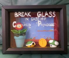 Super Mario Bros Shadow Box, Break In Case Of Emergency, featuring 1up, Fire Flower, Coin,  and Green Turtle Shell