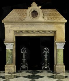 Antique Victorian carved stone and marble fireplace mantel