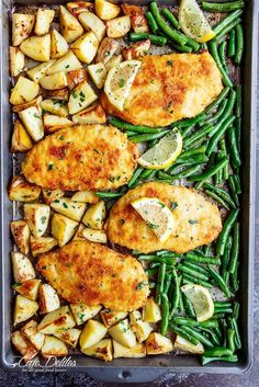 Oven baked and CRISPY breaded Sheet Pan Lemon Parmesan Garlic Chicken & Veggies,. - Oven baked and CRISPY breaded Sheet Pan Lemon Parmesan Garlic Chicken & Veggies, complete with pota - Easy Family Dinners, Healthy Meal Prep, Healthy Eating, Fast Healthy Meals, Healthy Meals For Families, Healthy Meals For Two Dinner, Healthy Meala, Healthy Meals With Chicken, Healthy Supper Ideas