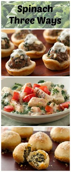 Green Giant Spinach can be used in so many different ways! Here we're featuring it in meatball bites, in a skillet, and in garlic rolls. All from the Pillsbury Bake-Off® Contest!