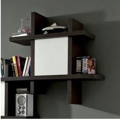 Cubo irregolare uso libreria in rovere moro (esempio accessoriato con anta)