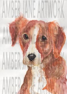 watercolour dog, print, hand painted, instant download, wall art, A4,JPEG by AmberJaneArtwork on Etsy