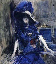 """""""La Divina in Blu"""" di Giovanni Boldini (1842-1931, Italy)"""