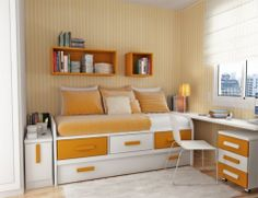 Beautiful Bedroom Designs Teenage Girls With Fair Decor Style: Exciting Bedroom Designs Teenage Girls With Bookcase White Carpet Study Table White Chair Standing Lamp Orange And White Pillows Furniture Glass Windows As Delectable Design Type ~ last-times.com Bedroom Design Inspiration