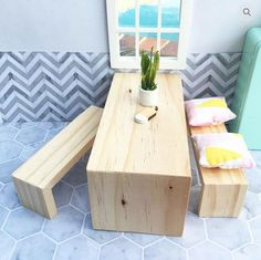 Modern miniature benches and table for a dollhouse