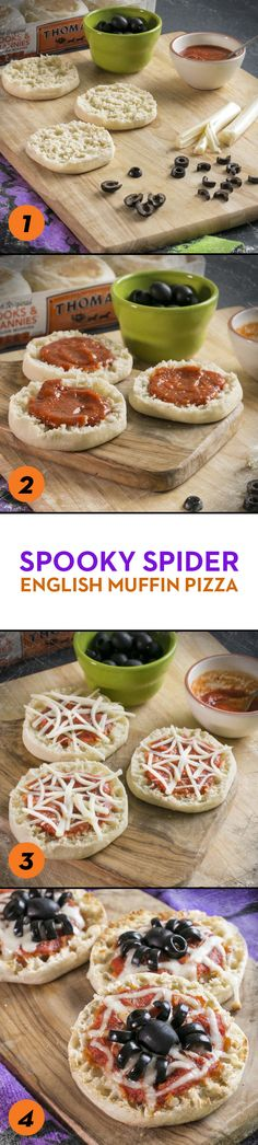 Spooky Spider English Muffin Pizzas: Fuel the kids for a night of trick-or-treating with these fun and festive Thomas' English Muffin pizzas. They may not even mind eating black olives when they're disguised as spiders!