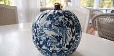A blue & white pumpkin for the guest room.  You won't believe how easy it is!  Tutorial can be found here: http://betweennapsontheporch.net/country-living-inspired-decoupage-a-pumpkin/