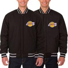 Los Angeles Lakers JH Design Reversible Wool Logo Jacket - Black