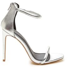 Just One Metallic Ankle Strap Heels SILVER (74 PEN) ❤ liked on Polyvore featuring shoes, pumps, metal, cushioned shoes, open toe high heel shoes, silver strap shoes, metallic shoes and silver strappy shoes