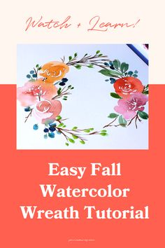 Easy fall watercolor wreath tutorial. Learn how to paint the perfect wreath in this fall watercolor wreath tutorial! If you're in the fall mood, grab a PSL (if you're into that kinda thing) and learn how to paint a beautiful loose-style floral watercolor wreath with an autumnal vibe. Wreath Watercolor, Easy Watercolor, Watercolour Tutorials, Watercolor Design, Watercolor Techniques, Floral Watercolor, Happy Little Trees, Step By Step Watercolor, Wreath Tutorial
