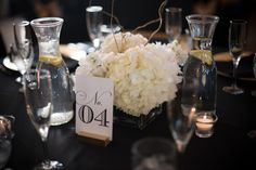 Short Wedding Centerpieces. Table Numbers. Photo via: @caroline k. Pippin www.pippinspics.com