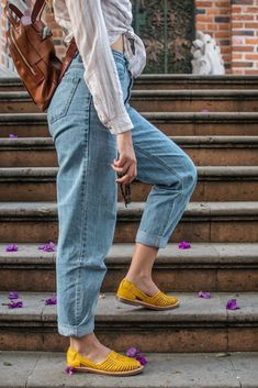 Frida - Women's Yellow Leather Shoes - Mexican Sole Yellow Leather, Cow Leather, Leather Shoes, Hot And Humid, Mexican Designs, Upper Body, Huaraches, Traditional Art, Snug Fit
