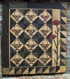 Pattern: Gathering Basket Quilt Pattern by Primitive Pieces by Lynda Primitive Quilts, Antique Quilts, Vintage Quilts, Country Primitive, Scrappy Quilts, Mini Quilts, Bed Quilts, Wool Quilts, Sampler Quilts