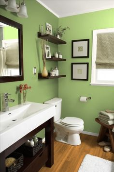like this color (for a bathroom) and the floating shelves