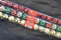 "15 Small Christmas Ball Bulb Ornaments 1 1/2"" Across Tree Wall Door Decor Hang"