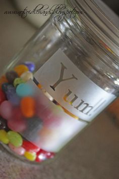 Recycle your old peanutbutter or pickle jars and make them cute storage jars.  Love It!