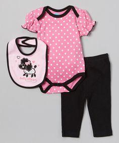 Love this Pink 'Pretty Little Girl' Poodle Bodysuit Set by bon bébé on #zulily! #zulilyfinds