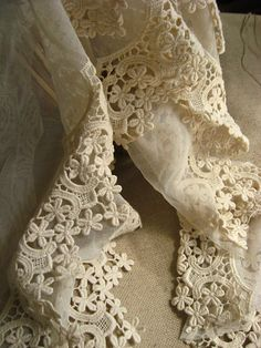 antique lace trim in beige, vintage scalloped lace trim, cotton embroidery gauze lace trim on Etsy, $5.80