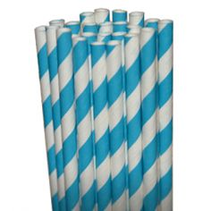 Stripe Aqua Blue Paper Party Straws - $3.75 for 25 count