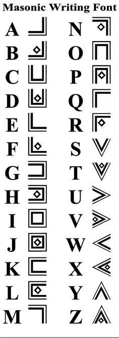 Alphabet Freimaurer masonic-writing-font - fonts and calligraphy Code Alphabet, Alphabet Symbols, Ancient Alphabets, Ancient Symbols, Different Alphabets, Masonic Symbols, Masonic Art, Writing Fonts, Freemasonry