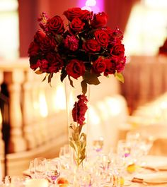 "Read: ""Floral Centerpiece Secrets Par t3: 10 Tips for Choosing Flowers - Vivid red rose #centerpiece - Flowers by Connie Riemer #weddings #flowers #centerpieces"