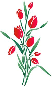 Flower 2 Stencil Designs from Stencil Kingdom Stencil Patterns, Stencil Painting, Stencil Designs, Fabric Painting, Creative Embroidery, Embroidery Designs, Glass Flowers, Paper Flowers, Tulip Drawing
