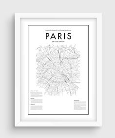 Minimal Paris Map Poster Black & White Minimal Print por PurePrint