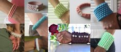 This is an adaptable crochet pattern that you can use to make a variety of bracelets. Use fine crochet thread or pearl cotton for delicate bracelets. Use yarns in any weight to create chunky bangles or cozy cuffs. This is a great project for using up leftover yarn and it's perfect for splurging on a luxury fiber because very little yardage is required.  Skills needed: crocheting a chain, slip stitch, single crochet, double crochet. Simple sewing (for sewing on a button).  I use standard…