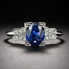 Art Deco Platinum Sapphire and Diamond Ring - 30-3-5621 - Lang Antiques