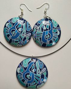 Abstract earrings and necklace set 😊 🎨🖌️ Necklace Set, Washer Necklace, Art Necklaces, Jewelry Art, Drop Earrings, Abstract, Blue, Summary, Drop Earring