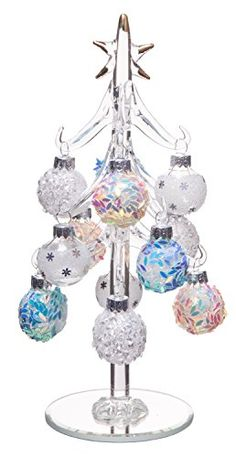 Beautiful Glass Christmas Tree Small Glass Table Top Decoration with Removable Sphere Ornaments Mosaic Orbs Holiday Season Dcor 8inch ** More info could be found at the image url.