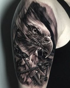 Eagle tattoo by Luis. Limited availability at Redemption Tattoo Studio. - Eagle tattoo by Luis. Limited availability at Redemption Tattoo Studio. Eagle Tattoo Arm, Bald Eagle Tattoos, Tribal Wolf Tattoo, Animal Sleeve Tattoo, Tribal Sleeve Tattoos, Animal Tattoos, Badass Tattoos, Body Art Tattoos, Belly Tattoos