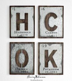 Galvanized Letters & The Periodic Table