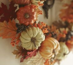 Decorate the front door with a Harvest Pumpkin Wreath. #potterybarn