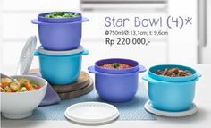 Paket Star Bowl cantik menarik dari Tupperware ini kami tawarkan kepada Anda dalam paket promo, dengan harga diskon menarik. Pada paket penjualannya (4 bowl) kami masih menambahkan bonus 1bowl lagi. Dapat potongan harga, plus bonus 1 bowl tambahan, siapa yang tidak tertarik coba!? so, tunggu apa lagi sist Spesifikasi Star Bowl Tupperware:
