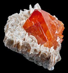 Gorgeous deep orange Scheelite on Muscovite - From Mt. Xuebaoding Mine, Pingwu, Sichuan Province, China