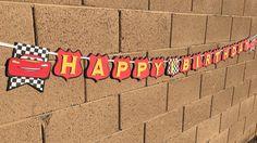 Cars happy birthday banner McQueen happy by AandNBannerCreations