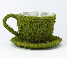 Whimsical moss table decorations suitable for a mad hatter party or better yet, a woodland themed wedding!