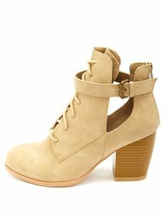 Cut-Out Belted Lace-Up Booties: Charlotte Russe - http://AmericasMall.com/categories/juniors-teens.html
